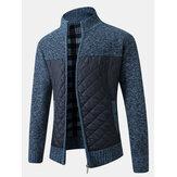 Veste épaisse à tricoter à glissière à manches longues pour hommes