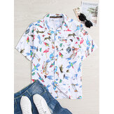 Mens Cotton Funny Animals Cartoon Print Causal Loose Short Sleeve Shirts
