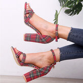 Women Plaid Cross Strap Lattice Decor Buckle High Heel Sandals