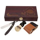 Barber Shaving Kit Set Straight Navalha Barbear Escova Strop De madeira Caixa
