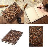 Vintage 3D Embossed Solsikke Rejsedagbog Notebook Journal Leather Notepad