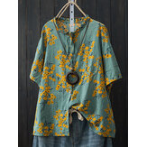 Katun Longgar Batwing Sleeve Floral Print Button Pocket Shirt