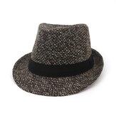 Men Winter Warm Felt Wide Brimmed Jazz Fedora Hat