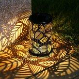 Vintage LED Solar Lantern Lights Garden Hanging Lamp Leaf Pattern Yard Decor