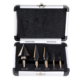 Drillpro 5pcs Hss Cobalt Step Drill Bit Set Multiple Hole 50 Sizes with Aluminum Case