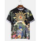 Heren tropische patronen met ademende casual T-shirts met ronde hals