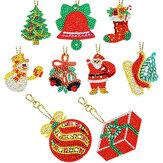 8/9 piezas Navidad Llavero Colgante DIY diamante completo Taladro pintura Llavero conjunto Bolsa o decoración de teléfono regalo de Navidad