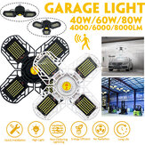 40/60/80W Deformable E26/E27 Ultra-bright LED Garage Ceiling Light Motion Activated