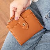 Women PU Leather Bifold Hasp Multi-Card Slot Retro Short Card Holder Clutch Wallets With Wrist Strap