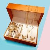4 шт. Роскошные Женское набор часов, инкрустированные бриллиантами, стразами, кварцевые часы Лист, браслет, набор, ожерелье, Серьги, ожерель