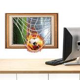 Miico Creative 3D Fire Football Frame PVC Removable Home Room Decorative Wall Floor Decor Sticker