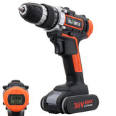 36V LED Light Cordless Electric Drill 2 Speed Digital Display Lithium Battery Household Power Drills