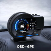 Smart Coche OBD2 GPS Gauge HUD Head-Up Digital Pantalla Velocímetro Turbo RPM Alarma
