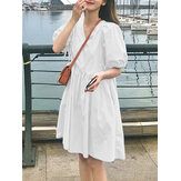 Women Solid Color Puff Sleeve V-Neck Pleats Plain Daily Casual Midi Dress