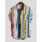 Mens Stripe Printing Graffiti Chest Pocket Camisas de verão de manga curta