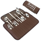 Outdoor Camping Barbecue BBQ Tableware Set 4 People Cutlery Portable Stainless Steel Spoon Chopsticks Fork Picnic Bag