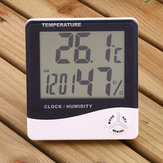 Digital LCD Thermometer Hygrometer Kelembaban Meter Room Indoor Suhu Jam