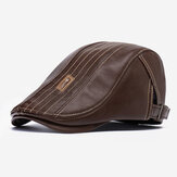 Banggood Design PU Leather Solid اللون Outdoor Keep Warm Forward Hat Beret Hat