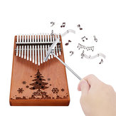 17 toetsen Hout Kalimba Peachwood Thumb Piano Finger Percussion Tuning Hammer met Christmas Tree-logo