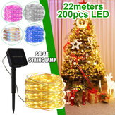 22M 200LED Solar String Fairy Light Warm Wit / Wit / Colorful / Roze / Blauw Gazon Lamp Bruiloft Kersttuin Decor