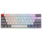 Geek Customized SK61 61 Keys Mechanical Keyboard NKRO Gateron Optical Axis Type-C Wired RGB Backlight White Case Gaming Keyboard