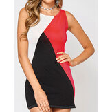 Original              Sleeveless Design Round Neck Contrast Color Mini Dress