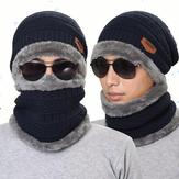 ニット帽子スカーフキャップネックウォーマー冬の帽子男性の女性の頭飾りビーニーフリース