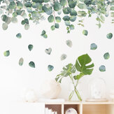 Transparent Removeable DIY Green Leaves Wall Stickers Flower for Bedroom Kitchen Kids Room Livingroom Decorations