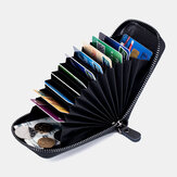 Unisex Genuine Leather RFID Blocking Organ Design Multi Card Solt Leather Card Holder Wallet
