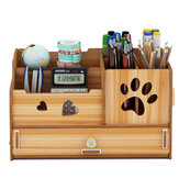 Pen Holder Office Multifunctional Sundry Box Desktop Decoration Wooden Desktop Organizer Home Office Supplies Storage Rack with Drawer