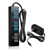 10 Port USB Hub 9 Port USB3.0 Data Hub + 1 Smart Charging Port with On/Off Switches Power Adapter 5V/4A Small USB Extension Hub for PC Laptop Computer MacBook