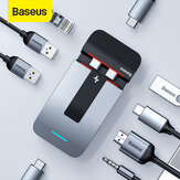 Baseus 9 In 1 USB-C Hub Docking Station Adaptor Laptop Berdiri Dengan 3 * USB 3.0 / 2 * Thunderbolt 3 5K HD Display / 100W Type-C PD / HDMI 4K @ 30 HZ HD Display / RJ45 Port / Port Audio 3.5mm / Jack Audio 3.5mm