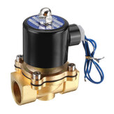 LAIZE DN25 NPT 1 Inch Brass Electric Solenoid Valve AC 220V/DC 12V/DC 24V Normally Closed Water Air Fuels Valve