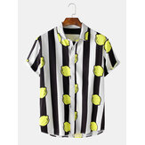 Mens Striped Lemon Print Turn Down Collar Short Sleeve Shirts