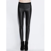 Women Solid Color Leather Bodycon Base Long Casual Leggings