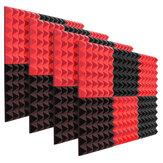 6 unidades de espuma acústica de estúdio de espuma à prova de som gravatas pretas + vermelhas 12 x 12 x 2 polegadas