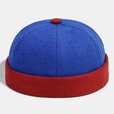 Banggood Design Men Contrast Solid Color Casual Brief Brimless Beanie Landlord Cap Skull Cap