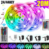 20M 5050 LED Strip Light RGB SMD Tape Ribbon Lamp Stripe Full Kit Non-waterproof 24/44 Keys Remote Controller