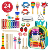 24PCS dřevěné dětské hudební nástroje Baby Batole Early Education Set Rattles Tocks