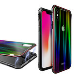 Luphie Protective Case For iPhone X Gradient Magnetic Adsorption Aluminum Tempered Glass Cover