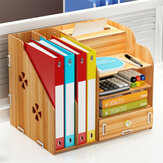 Multi-function Desktop Organizer Office Storage Rack Adjustable Wood Display Shelf Tissue Holder Natural Stand Shelf Bedroom Supplies