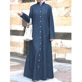 Women Casual Denim Button Down Stand Collar Full Length Kaftan Maxi Shirt Dresses
