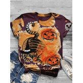 Women Halloween Funny Pumpkin Print Casual Short Sleeve T-Shirts