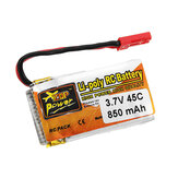ZOP Power 3.7V 850mAh 1S 45C Lipo Battery JST Plug
