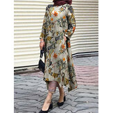 Women Cotton Vintage Floral Print Irregular Hem Split Kaftan Casual Midi Dress