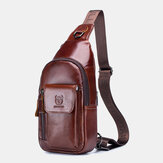 Men Genuine Leather Earphone Hole Retro Solid First Layer Leather Shoulder Bag Chest Bag