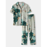 Plus Size Women Tropical Leaves Print Revere Collar Short Sleeve Elastic Waist Home PaJama Set