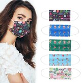 Adult Cartoon 50Pcs Disposable Mouth Face Masks 3-layer Respirator Mask Christmas Dust-Proof Personal Protection