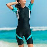 女性のトレンディなウェットスーツNylonジップショーティー水着女性ストレッチレディダイビングスーツ水着サーフィンジャンプスーツ