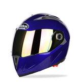 JIEKAI JK105オートバイヘルメットフリップアップアンベールヘッドピース付きダブルメッキレンズ電気自転車男性防曇オールシーズンヘルメット